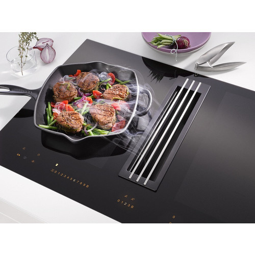 KMDA 7774 FL Cooktop with integrated extractor product photo Laydowns Back View L