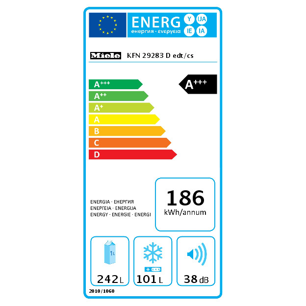 KFN 29283 edt/cs XL Ledusskapis ar saldētavu  product photo Energysaving energysaving
