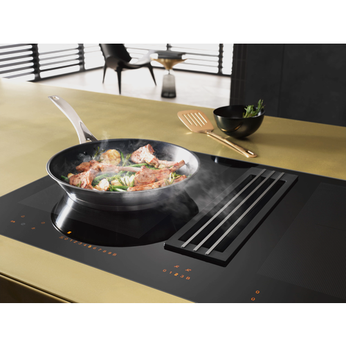 KMDA 7633 FL Induction Cooktop with Integrated Downdraft Extractor product photo Back View L
