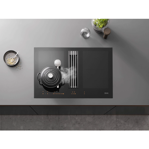 KMDA 7633 FL Induction Cooktop with Integrated Downdraft Extractor product photo Laydowns Detail View L