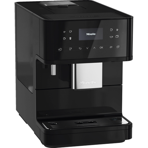 CM 6160 MilkPerfection Obsidian Black Benchtop coffee machine product photo Laydowns Detail View L